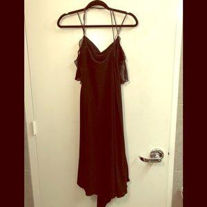 Patricia Pepe Black silk midi wrap dress